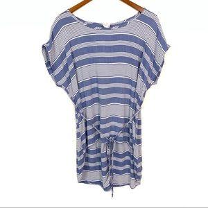 Libian | Blue Stripe Tie Waist Blouse Womens Sz M